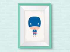 Nursery wall art. Superhero print ideal for the nursery or any little Superheores bedroom. Other Superhero nursery art is available in my store.  Most of my prints are now available for you to print at home in my other shop here: www.etsy.com/uk/shop/NordicDesignHouseCo  MY PRINTS  All of my prints are designed inhouse so if you require a different colour or alteration please just send me a convo and I will be more than happy to make any small change free of charge. Larger, more time…