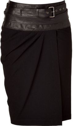 Donna Karan Black Wrap Skirt with Leather Yoke: nice
