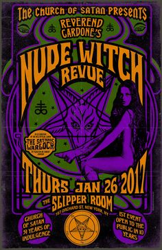 Nude Witch Revue Poster Church Of Satan The Satanic Bible, Vintage Graphic Design, Psychobilly, Occult, Vintage Ads, The Magicians, Printing Services, Pin Up, Witch