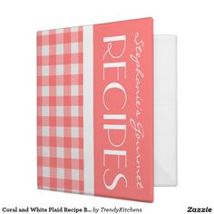 Coral and White Plaid Recipe Binder - Coral