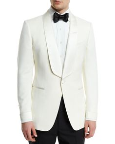 Is this the perfect wedding outfit you've been searching for gentleman? An all white dinner jacket/tuxedo paired with a white tuxedo shirt and black dress pants! Giorgenti New York can custom make this for you in their private showroom! Tom Ford Jacket, Tom Ford Suit, Suit Jacket, Tom Ford Tuxedo, Tuxedo Suit, Tuxedo For Men, Mens White Tuxedo Jacket, Groom Tuxedo, Tuxedo Wedding