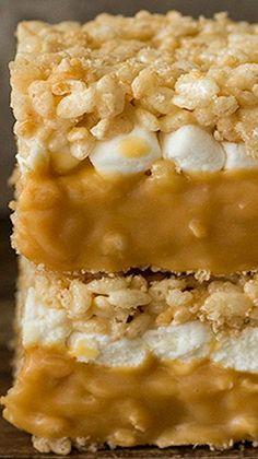 Caramel Stuffed Rice Krispie Treats ~ Soft and gooey, double-decker caramel…