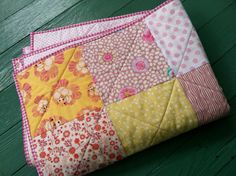 Powder Pink & Creamy Yellow Baby Quilt by quiltstudio444 on Etsy