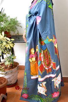 handpainted patachitra cotton and silk saree vipakka Cotton Saree, Silk Sarees, Kalamkari Saree, Saris, Yellow Saree, Black Saree, Hand Painted Sarees, Fabric Paint Designs, Stylish Sarees