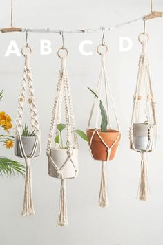 Macrame plant hangers Short wall planter indoor outdoor Small suspended pot holder Rope crochet hanging planter Simple minimalist boho decor - Thanks so much for visiting our store, we make macrame plant hangers in various colors, sizes, styl - Crochet Plant Hanger, Plant Hangers, Macrame Plant Hanger Diy, Rope Plant Hanger, Macrame Plant Hanger Patterns, Pot Hanger, Macrame Projects, Diy Projects, Macrame Supplies