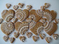 henna heart designs on linen as pocket treasures