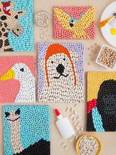 Bean Art Animals Inspired by Dolittle ⋆ Handmade Charlotte - Makarna pirinç m. - Bean Art Animals Inspired by Dolittle ⋆ Handmade Charlotte – Makarna pirinç mercimek vb atık - Diy Crafts For Kids, Projects For Kids, Fun Crafts, Arts And Crafts, Recycled Art Projects, Diy Art Projects, Family Crafts, Children Art Projects, Colorful Crafts