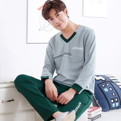 Brand Spring Autumn 100% Cotton Long Sleeve Men Sleepwear Masculine Pyjamas Sexy Men's Pajama Sets Lounge Fashion Home Clothing. Yesterday's price: US $33.00 (27.27 EUR). Today's price: US $26.07 (21.55 EUR). Discount: 21%.