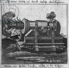 Cannon, illustration from 'L'Art de l'Artillerie' by Wolff de Senftenberg, late 16th century (pencil  w/c on paper) (b/w photo)