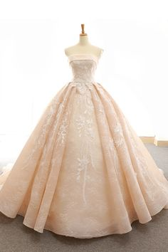 d89eabd1128 Nude organza strapless sweep train lace up senior prom dress