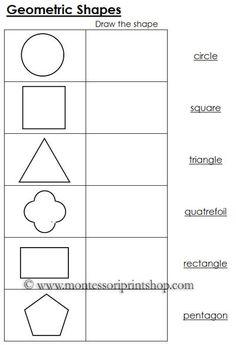 Worksheets for Geometric Shapes: Black Line Masters for 12 Geometric Shapes.