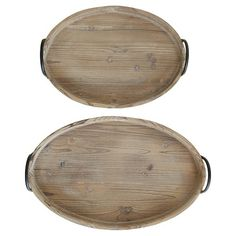 Oval Wood Tray Set is a versatile duo for your entertaining or everyday needs! Wooden with Metal Handles. Sizes: x & x Coffee Table Tray, A Table, Antique Farmhouse, Farmhouse Decor, Farmhouse Style, Boston Interiors, Creative Co Op, Wood Tray, Tray Decor