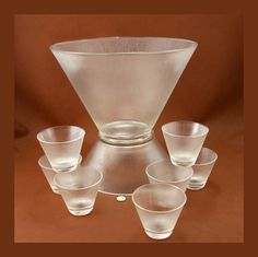 Mid Century Modern Norse Punch Set Bowl Base Cups Federal Glass Vtg.
