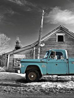 Old blue pickups