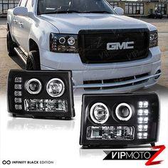 2007-2013-GMC-Sierra-1500-2500HD-3500HD-Black-LED-Angel-Eye-Projector-Headlights