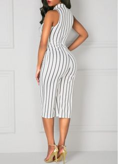 High Neck Stripe Print Sleeveless White Jumpsuit on sale only US$34.90 now, buy cheap High Neck Stripe Print Sleeveless White Jumpsuit at liligal.com