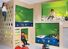 Incorporated presented Black with four different options for the bed structure, which all featured four bunks (two beds for the boys, plus spare beds for sleepover guests). The boys then voted for their favorite—naturally, the one with the built-in climbing wall won.