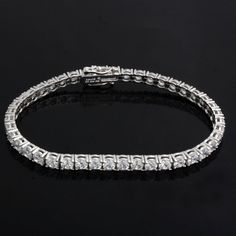3.50 Carat DVSS1 Round Diamond 10Kt White Gold Over Classic 7.00 Tennis Bracelet…