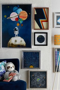 Learn how to decorate your kids' rooms walls with exciting designs that inspire imagination. Shop new, exclusive kids' furniture & décor from Drew Barrymore Flower Kids – only at Walmart. Kids Wall Decor, Boys Bedroom Decor, Bedroom Themes, Art Wall Kids, Bedrooms, Boys Space Bedroom, Bedroom Ideas, Art Kids, Teen Bedroom