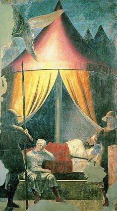 """V episodio: El sueño de Constantino (329 x 190 cm). En él ve la Cruz y una voz le dice: """"Bajo este signo vencerás"""", incitándole así a derrotar al paganismo."""