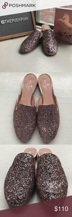 NWOT Kate Spade Gowan Mules in Rose Gold Glitter New without tags, only tried on Kate Spade Gowan Mules Slip on Shoe in Rose Gold Glitter, size 8. Adorable backless flats with metallic trim. Perfect prom shoes or bridal shoes, imagine how comfortable you'd be in these and how easily they would be to slip off and dance! Only tried on around my house(with Socks), I have no where fun to wear them so passing them on. Bottoms a little dirty(see pics) but otherwise perfect condition. No box.  No…