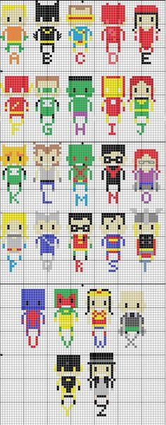 Superhero Alphabet pattern - Geekie Crafts