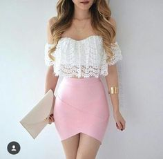 White Lace Off Shoulder Crop Top, Pink Tulip Wrapped Skirt, Gold Bracelet And Clutch.