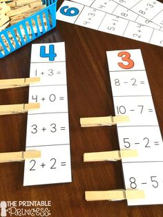 Addition and Subtraction practice: Students read the number on top and solve the equations. They clip the ones that equal the number on top. Make this activity self checking by putting stickers on the correct answers BEFORE laminating! Subtraction Activities, Kindergarten Math Activities, Kindergarten Teachers, Math Classroom, Fun Math, Teaching Math, Kindergarten Assessment, Math Games, Teaching Ideas