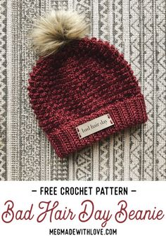 Great Photographs crochet beanie pattern Thoughts Free Crochet Pattern Bad Hair Day Beanie – Megmade with Love Crochet Adult Hat, Bonnet Crochet, Crochet Cap, Crochet For Boys, Crochet Scarves, Love Crochet, Crocheted Hats, Fall Crochet Hats, Easy Crochet Hat