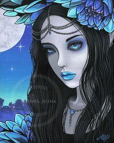 NEW Fairy Art Lotus Moon Flower Nalin Myka FIRST Edition CANVAS Embellished 8x10 #MykaJelina