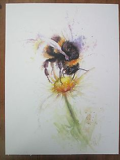 Bee watercolour, print of original painting size on watercolour paper Watercolor Art Paintings, Watercolor Animals, Watercolor Cards, Floral Watercolor, Watercolours, Bee Pictures, Bee Tattoo, Bee Art, A Level Art