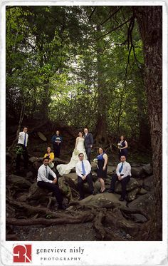 Bridal party in nature