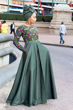 Army green african print dress ankara dress by EssieAfricanPrint