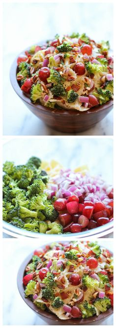 """Broccoli Salad ~ A healthy, hearty broccoli salad loaded with plump grapes and crunchy pecans tossed in a """"skinny"""" Greek yogurt dressing!"""