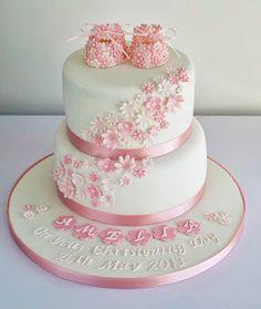 Sugar Ruffles Girls Christening Cake