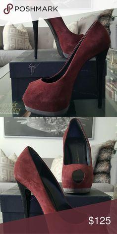 Giuseppe Zanotti heels Pinot and grey high heels with peep toe front. Worn once Giuseppe Zanotti Shoes Heels