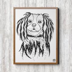 King Charles Spaniel Dog A4 illustration print art dog by mmuffn