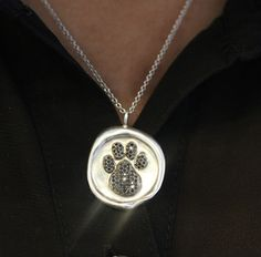 Black Diamond Dog Paw Necklace. Celebrate National Puppy Day in Style!