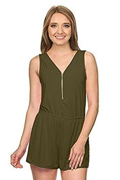 9239b2e13938  12.99 Amazon.com  Simlu Womens Sleeveless Casual Short Pant Lace Trim  Surplice Neck Jumpsuit