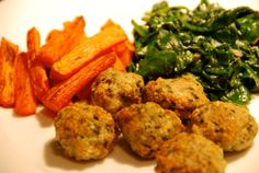 Quick Dinner on My Flip Night: Chicken Meatballs, Roasted Carrots, and Sautéed Spinach with Shallots | Nom Nom Paleo