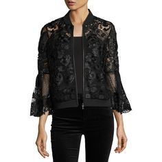 Kobi Halperin Kali Bell-Sleeve Lace Bomber Jacket (€565) ❤ liked on Polyvore featuring outerwear, jackets, black, bell sleeve jacket, zip front jacket, 3/4 sleeve jacket, blouson jacket and bomber jacket