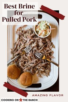 Straight from the Vail Manor Resort in Vail, Colorado comes this most flavorful, most tender pulled pork brine recipe. A brine and a slow cook in the oven and you've got a brag worthy pulled pork sandwich for a crowd. Oven roasted fall apart tender. Pulled Pork Brine Recipe, Pulled Pork Oven, Pulled Pork Sliders, Pork Roast Recipes, Pulled Pork Recipes, Pork Tenderloin Recipes, Braised Pork Shoulder, Pork Shoulder Recipes, The Ranch