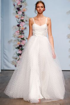 Swiss Dot wedding dress.  White dress with swiss dot.  Ida Sjöstedt Stockholm Spring 2016 Fashion Show