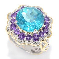 157-141 - Gems en Vogue 9.20ctw Paraiba Color Topaz  & African Amethyst Halo Ring
