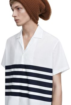 Ody navy stripe printed poplin shirt with a boxy fit #AcneStudios #menswear #SS15