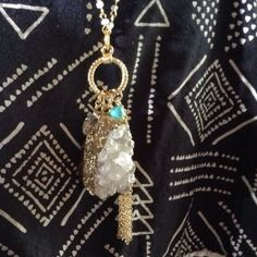 Gold Wrapped Crystal Druzy Stone Necklace