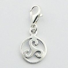 Silver charm sterling silver celtic spiral charm w lobster clasp 24mm height PSA