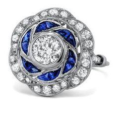Art Deco - Platinum, Diamond and Sapphire Engagement Ring 2 ct.tw. - The Rey Ring. $8,975.00, via Etsy.