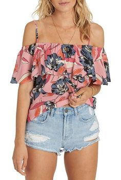summer sunsets cold shoulder top by Billabong. Slender straps secure the flirty ruffled popover on this crinkly top that's perfect for showing off those toned shoulders you earned while surfing. Style Name: Billabong Summer Sunsets Cold Shoulder Top. Style Number: 5507529. Available ... #billabong