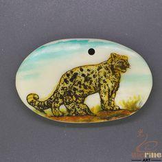 Etched Scrimshaw Bone Pendant  Carved Hand Painted leopard   ZL201124 #ZL #Pendant